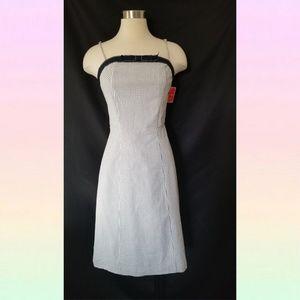 Isaac mizrahi bow Dress navy stripe